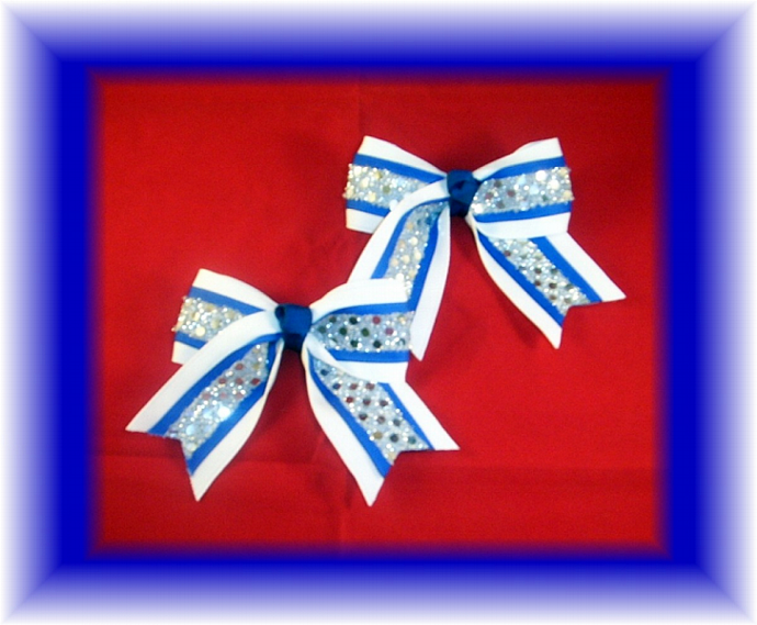 2 Royal Blue & White Pig Tail Cheer Bows Sequin FREE SHIPPING