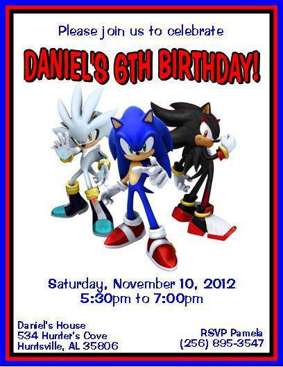 12 PRINTED Sonic The Hedgehog Personalized Birthday Invitations 3 Styles