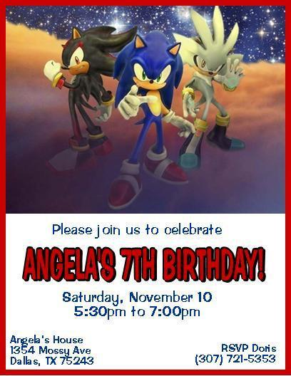 12 printed sonic the hedgehog personalized thenotecardlady 12 printed sonic the hedgehog personalized birthday invitations 3 styles filmwisefo