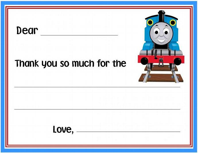 Thomas The Train Fill In Note Or Thank You By Thenotecardlady On