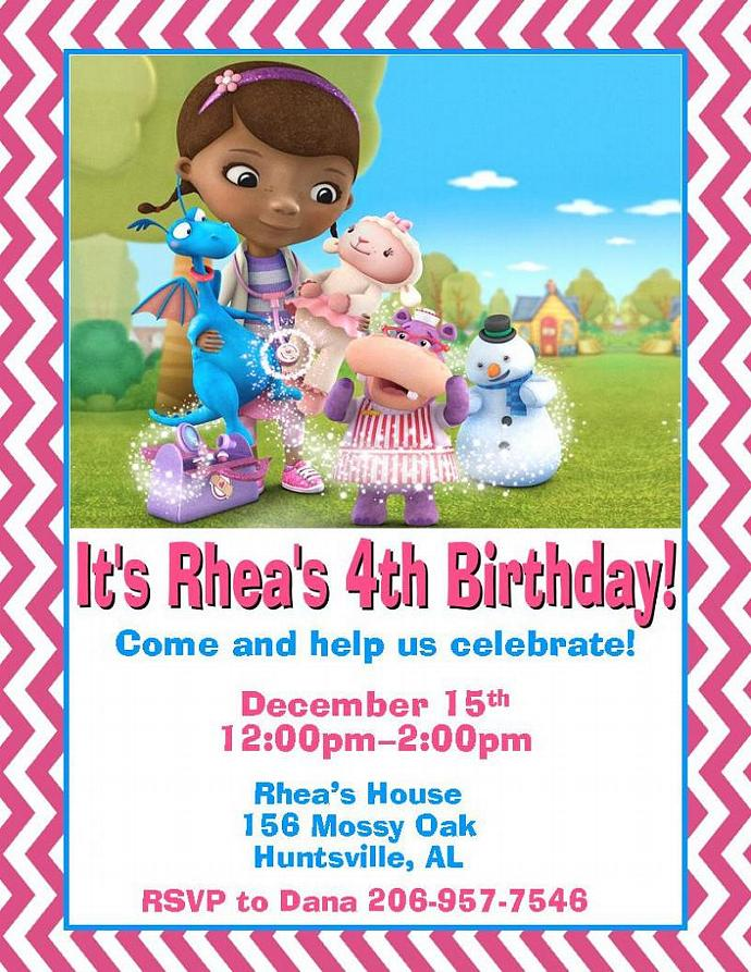 12 Printed Doc McStuffins Birthday Invitations With Envelopes