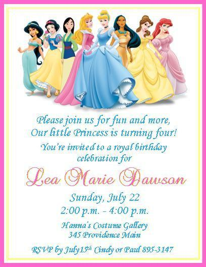Disney Princesses Personalized Birthday Invitations