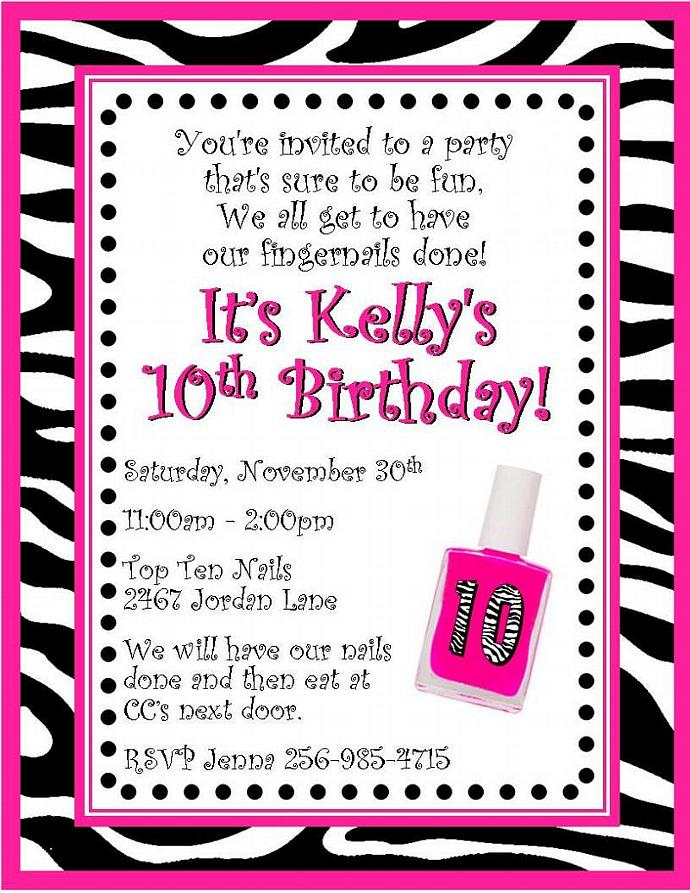 12 PRINTED Zebra Nail Polish Personalized Birthday Party Invitations