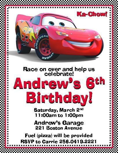 Disney Cars Lightning Mcqueen Invitations By Thenotecardlady On Zibbet