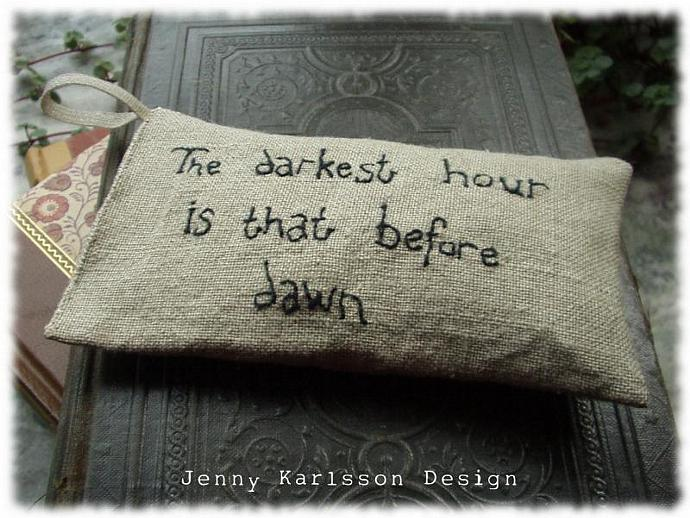The darkest hour is that before dawn - Lavender sachet in linen with hand