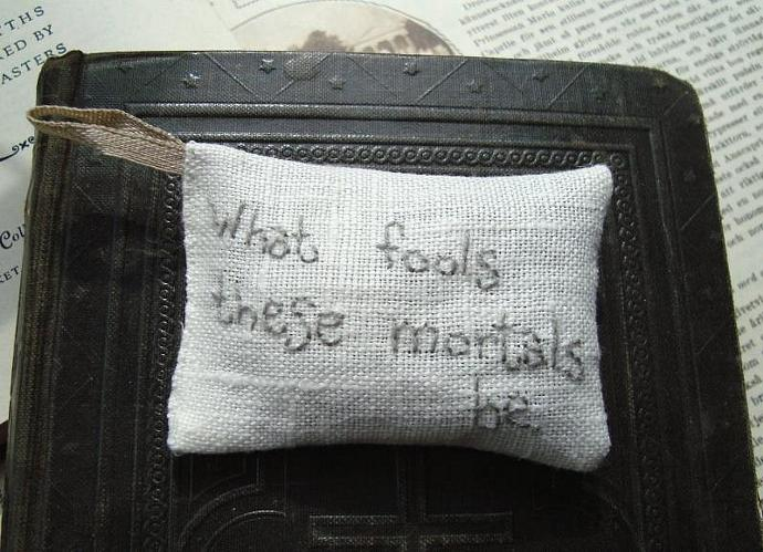 What fools these mortals be Seneca - Lavender sachet in linen with embroidered