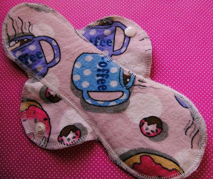 COFFEE and DOUGHNUTS--10 inch--Comfy Cloth Sanitary Pad--Medium-Heavy