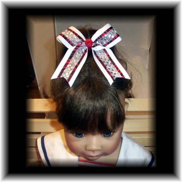 Red Black ZEBRA White Mini Cheer Bow Pony-O  FREE SHIPPING