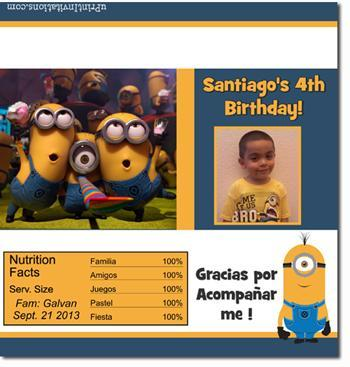 Despicable Me Minions Candy Bar Wrappers **DOWNLOAD JPG IMMEDIATELY**