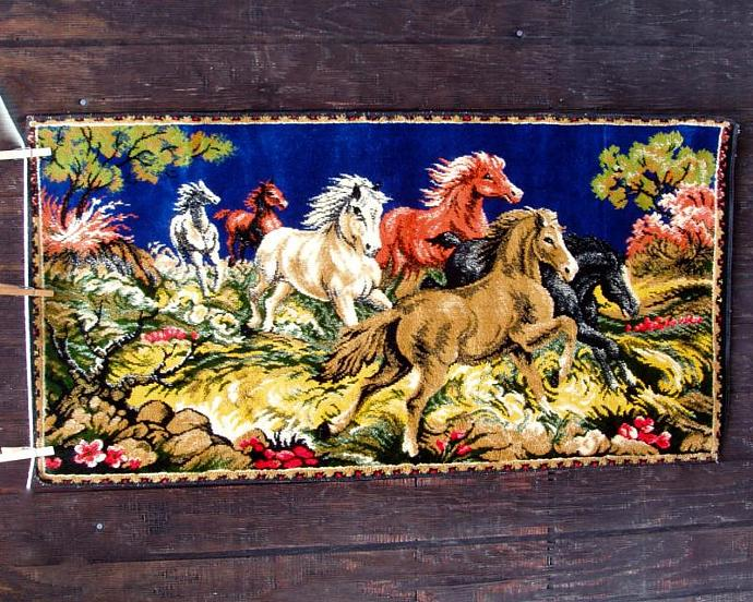 1960s Horses Wall Hanging Vintage Velvet By