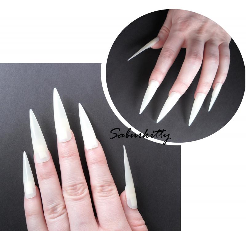 Flat Style Pointed Nails Costume Pointy Nail by SaburKitty on Zibbet