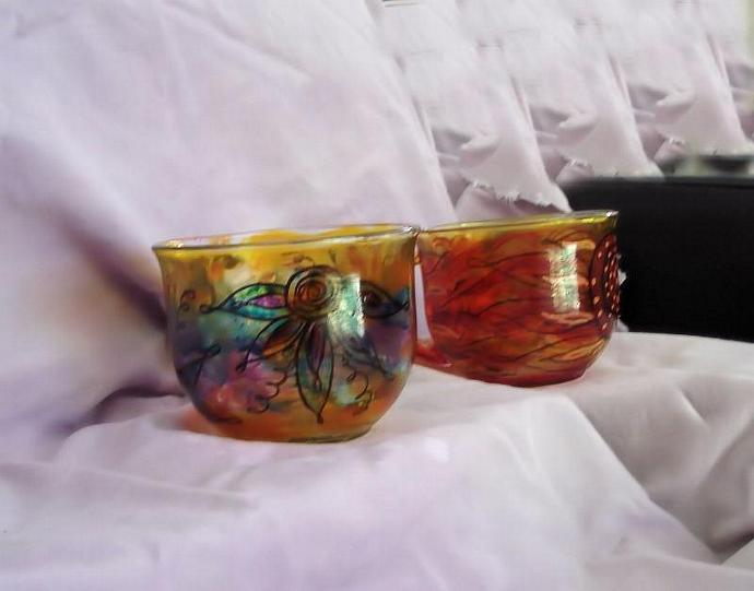 Hand painted re purposed glass coffee mugs