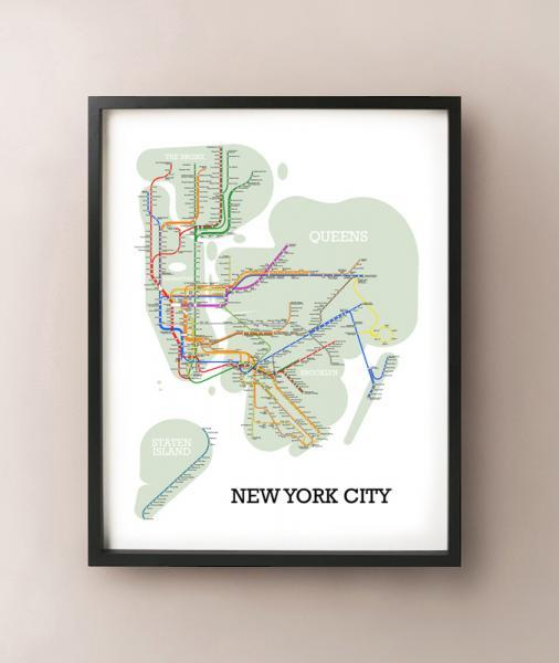 New york city metro subway style map art by cartocreative on zibbet new york city metro subway style map art print gumiabroncs Choice Image