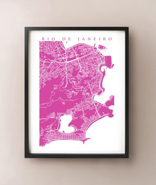 Rio De Janeiro Map Print Brazil Art Poster Modern Wall Cidade Maravilhosa