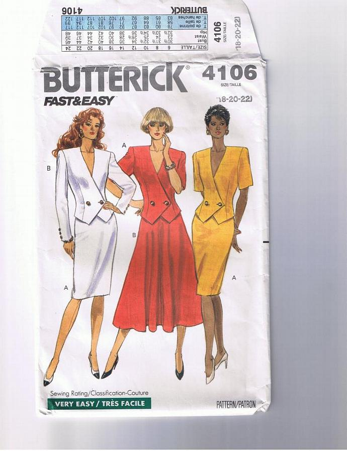 Double-breasted jacket, slim skirt, flaired skirt.  Misses' sizes 18 - 20 - 22.