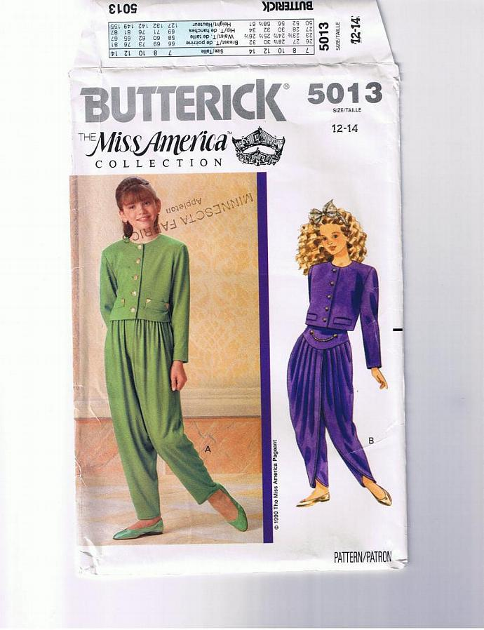 """.""""Miss America  Collection"""" BUTTERICK pattern 5013.  Girls' sizes 12 - 14."""