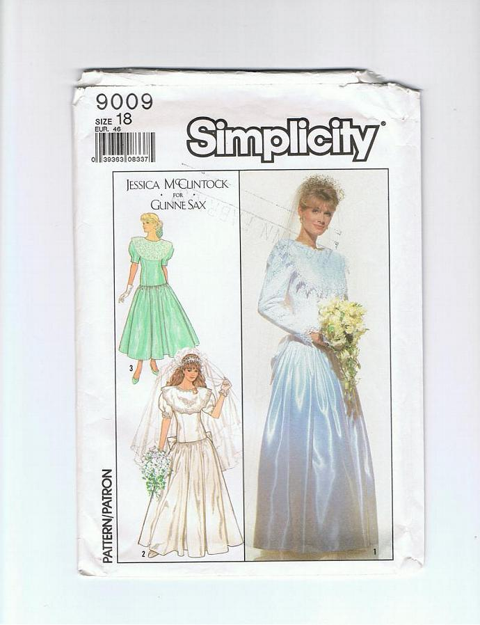 Simplicity 9009.  Size 18  Bridal/prom/mother of bride/groom dress pattern