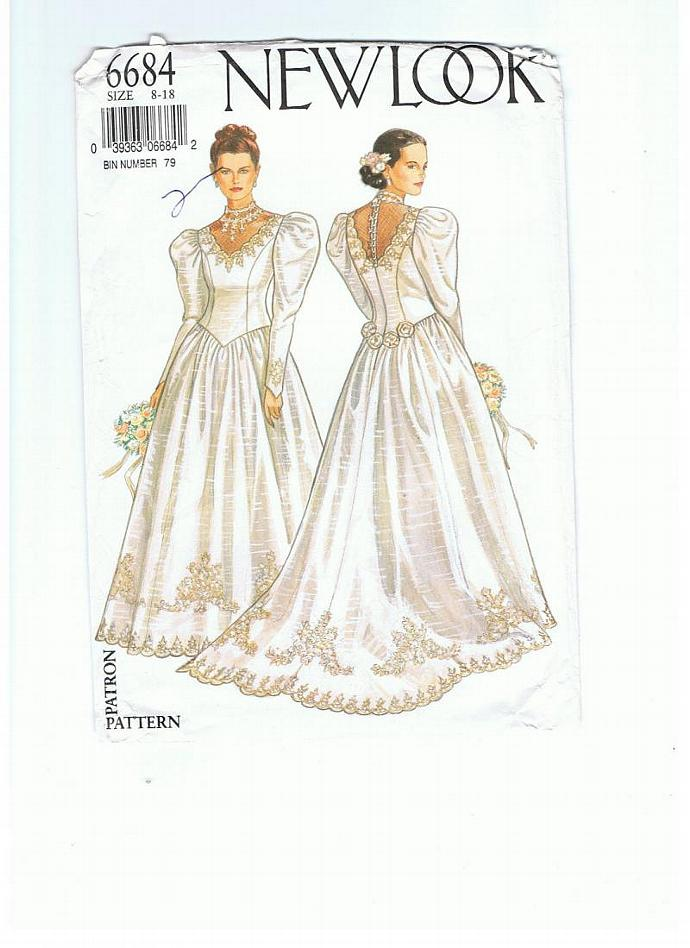 New Look 6684 sizes 8 - 18  Wedding gown pattern