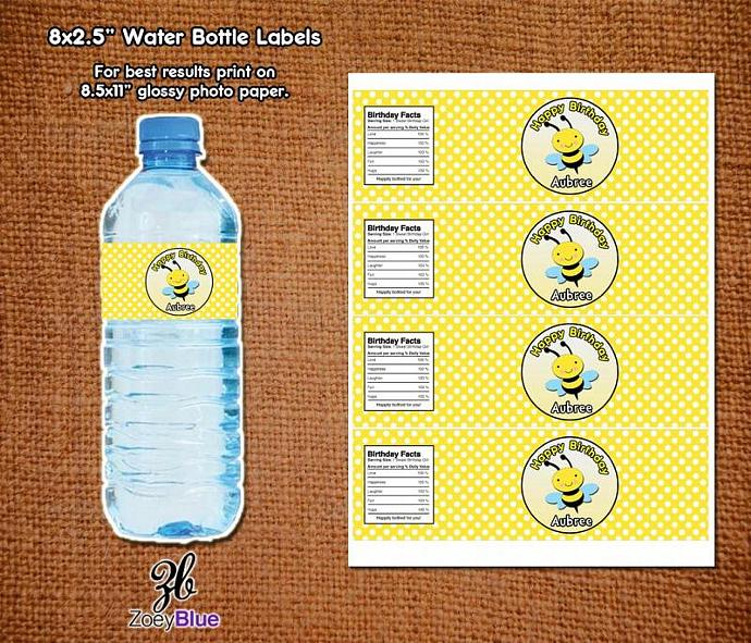 Bumble Bee Birthday Baby Shower Printable Water Bottle Labels Customizable