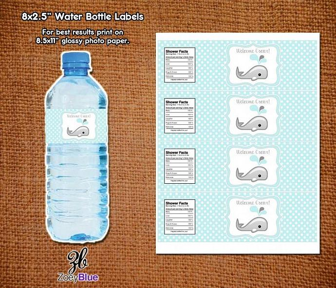 Baby Boy Whale Baby Shower Printable Water Bottle By Zoeyblue On