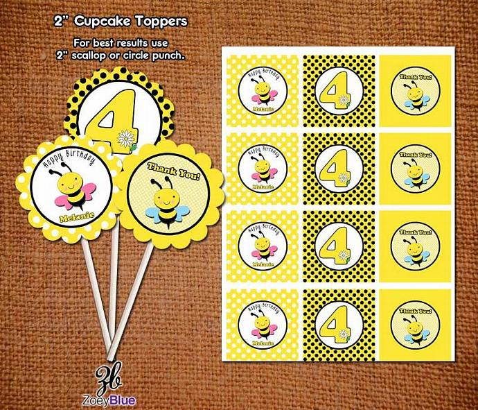 Bumble Bee Birthday Baby Shower Printable Cupcake Toppers Customizable