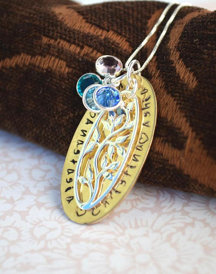 Tree of Life Personalized Necklace with Charms, Gift, Sterling Silver, Brass,