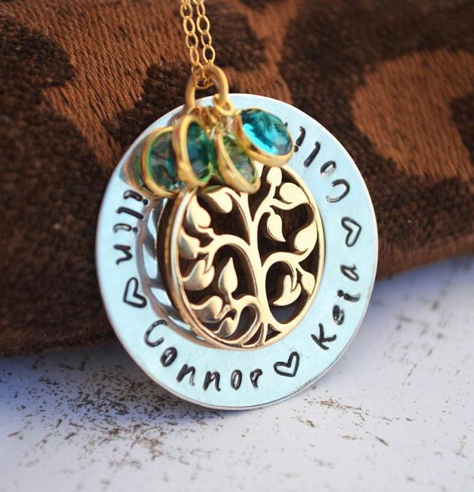 Gold Tree of Life Necklace, Hand Stamped, Personalized Necklace, Gift, Mother,