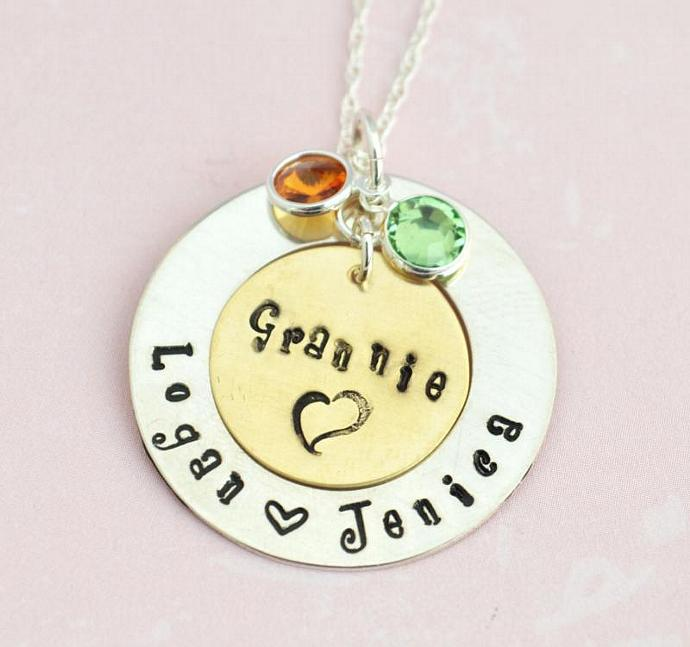 Grandmother Pendant with Birthstones, Family Necklace Hand Stamped Personalized