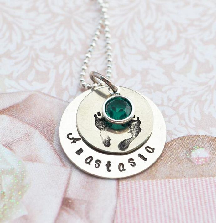 New Baby Necklace - Hand Stamped Personalized Necklace Gift, New Arrival, Baby,