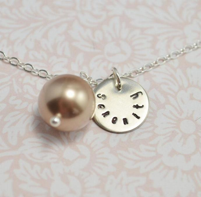 Serenity pendant necklace with pearl by loveitpersonalized on zibbet serenity pendant necklace with pearl hand stamped personalized inspiration aloadofball Choice Image