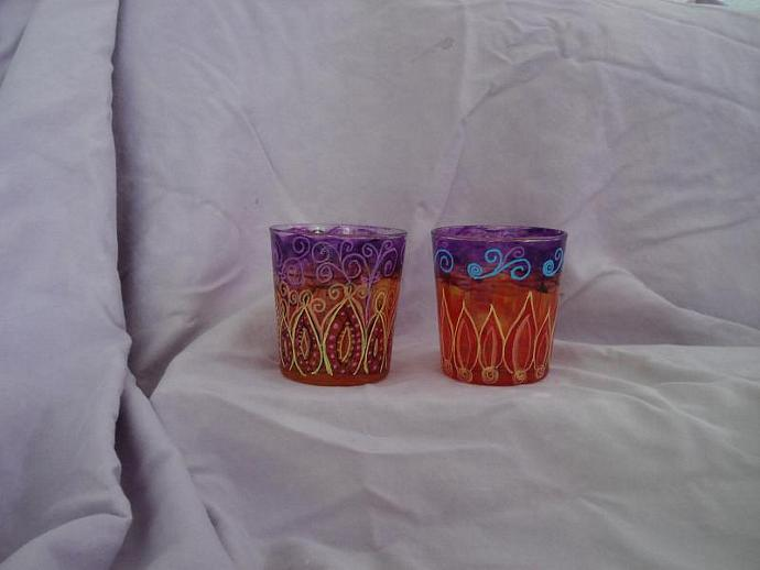 Hand painted re purposed glass tumblers