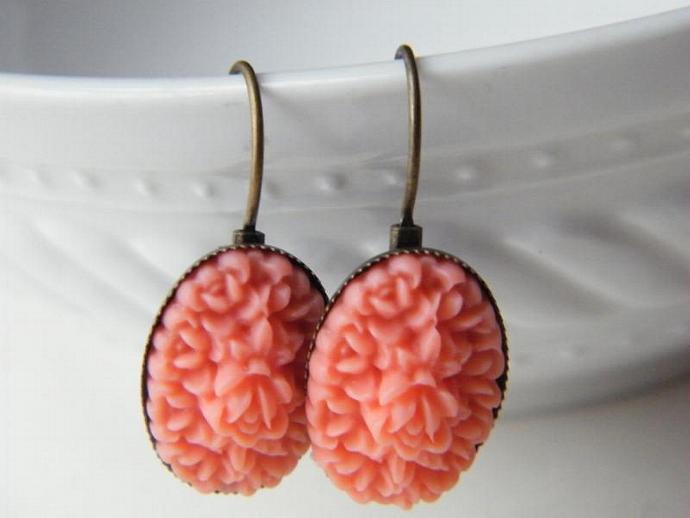 Floral Earrings , Floral Cameo Drop Earrings , Cameo Earrings , Bridesmaid