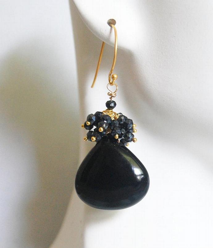 Black Onyx - Black Spinel Cluster  Dangle Drop Earrings
