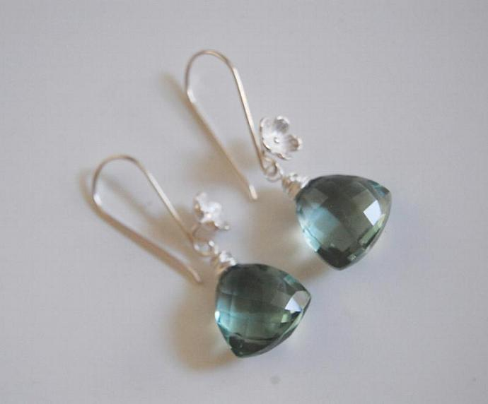 Gorgeous Sage Green Quartz Dangle Earrings