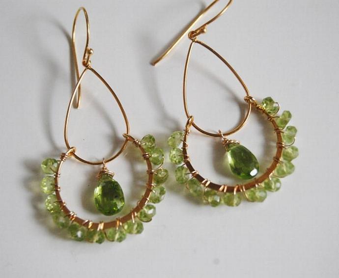 Gorgeous Peridot double loop  Chandelier Earrings