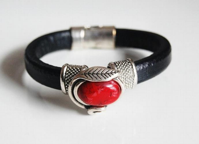 Black  Licorice Leather Bracelet- Bangle bracelet- Red stone  charm Bracelet -