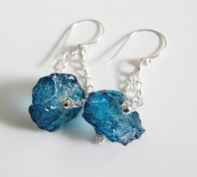 Teal Blue Quartz Hammered Nugget Dangle Drop Earrings  in Sterling Silver