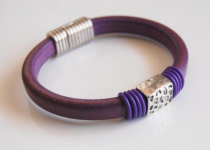 Purple  Licorice Leather And Purple  O ring Bracelet- Bangle bracelet- - Cuff