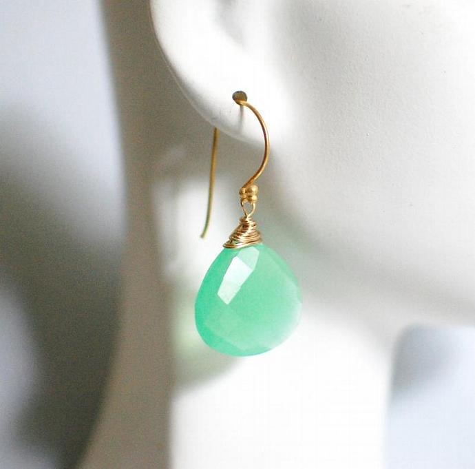 Green Chalcedony Dangle Drop Earrings - Wedding Jewelry- Bridesmaids earrings