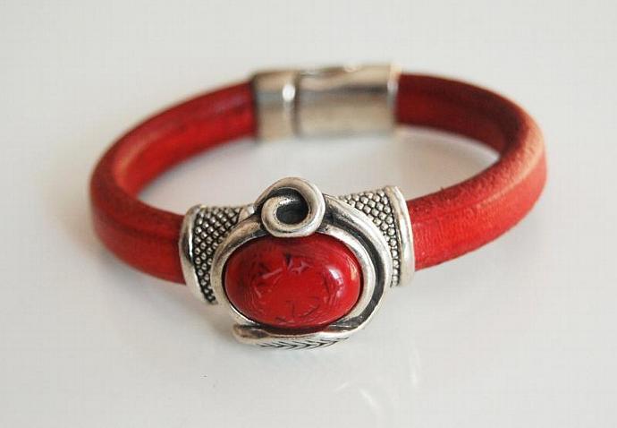 Red Licorice Leather Bracelet-Bangle bracelet- Red stone charm Bracelet - Cuff