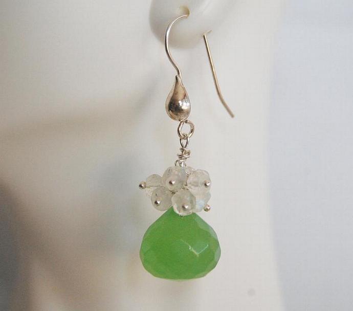 Gemstone Cluster Dangle Drop  Earrings - AAA green quartz and Moonstone cluster