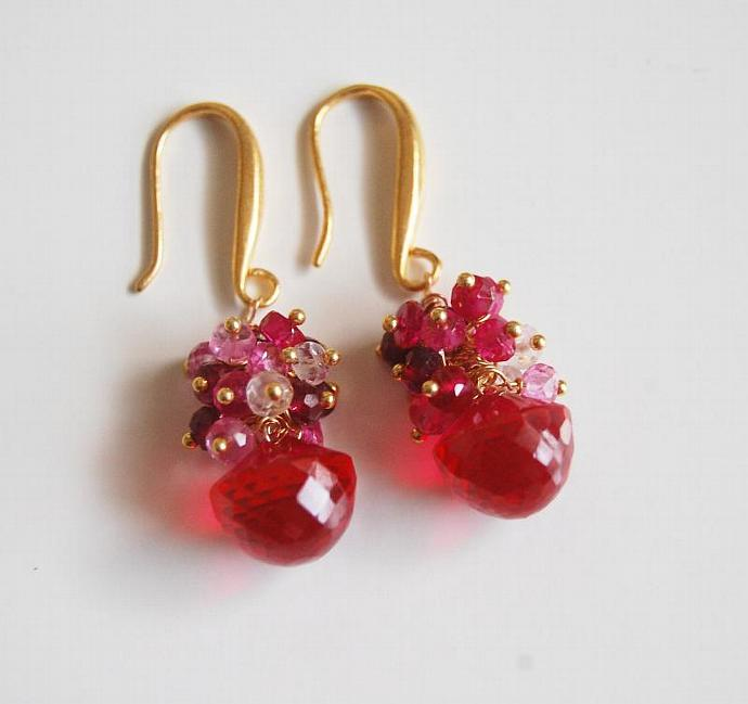 Gemstone Hot  Pink Corundum  Quartz - Shaded Ruby Cluster  Dangle Drop  Earrings