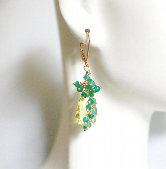 Lemon  Quartz And  Shaded green Quartz  Cluster Dangle Drop Earrings - Wedding