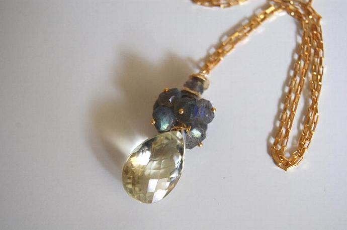 AAA Gorgeous Lemon quartz and blue flashy Labradorite necklace