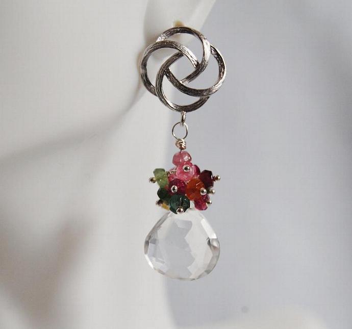 Gemstone cluster dangle  Earrings -  Multi Tourmaline  cluster Dangle Earrings