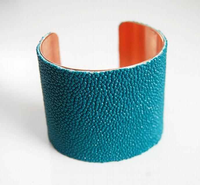 "Stingray Bracelet -Teal Green Genuine Stingray Leather Cuff Bracelet -2"" Cuff"