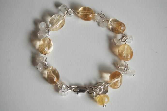 Birthstone Bracelet- Citrine And Moonstone Bracelet with Sterling silver