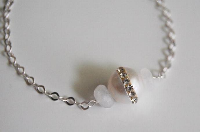 Wedding Jewelry - Fresh Water pearl And Moonstone Bracelet- June Birthstone
