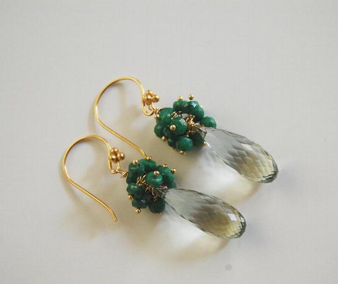 May Birthstone Jewelry- Green Amethyst and Genuine Emerald Dangle Drop Earrings