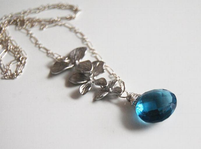 London blue quartz  Necklace with Orchid Charm and Sterling Silver chain-